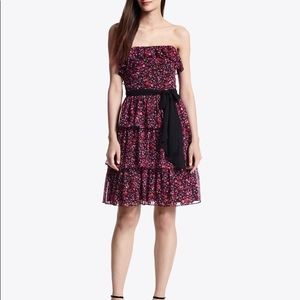 WHBM ditzy print floral pink strapless ruffle dres